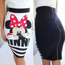 Fashion Women Minnie Mickey Mouse Print Bodycon Cocktail Party Mini Pencil Skirt