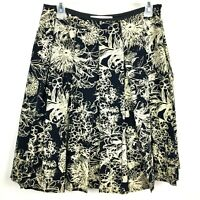 St John Collection Womens Size 8 Skirt Pleated Black Ivory Floral Lined Zipper