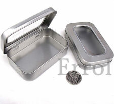 "Altoid Size Tin With Hinged Window Lid. 3¾"" x 2⅜"" x ⅞"" (96mm x 60mm x 21mm)"