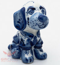 Gzhel Porcelain Dog Figurine handmade symbol of 2018 New Year made in Russia