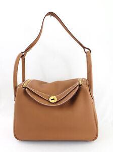 Hermes Auth 2017 NWOT Gold Taurillon Clemence Lindy 30 CM Handbag Shoulder Bag