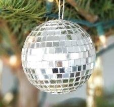 "disco mirror ball silver dance club Christmas ornament resin 3""  7.5 cm diameter"