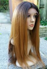 Silk based Swiss lace, human hair wig, hand knotted, ombre, brown