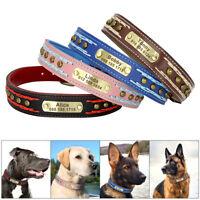 Collier de chien en cuir personnalisé avec nom gravure gratuite réglable M L XL