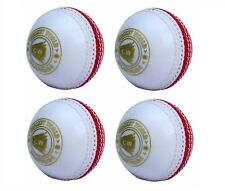 Pack Of 4 SPIN Cricket Balls White Red PVC For Indoor Outdoor General Training