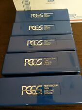 5 FIVE PCGS COIN SLAB BOXES BLUE EMPTY STORAGE GRADED PLASTIC HOLDS 20 EACH