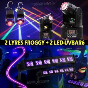 4 jeux de lumière avec 2 LYRES LMH250-RC + 2 LED-UVBAR6 PA DJ LED SONO