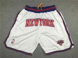 New York Knicks Basketball Shorts JUST DON Stitched White Shorts Size : S-XXL