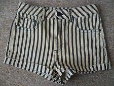 Topshop UK6 W25 señoras Negro Beige Estiramiento del dril de algodón Caliente Pantalones Cortos Buenas Condiciones