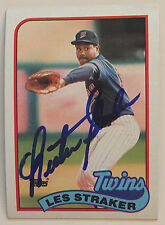Les Straker signed (RARE) 1989 Topps baseball card Minnesota Twins #101 W/COA