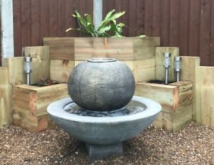 LARGE PATIO BALL FOUNTAIN STONE GARDEN ORNAMENT WATER FEATURE