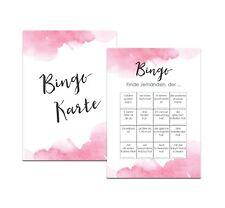 """50 Bingokarten """"Aquarell Hochzeit"""" Hochzeitsbingo Spiel, Hochzeitsspiele"""