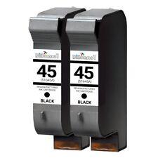 2 PACK 45 Black Ink For HP Color Copier 110 120 140 145 150 155 160 170 180 190