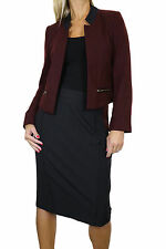 NEW (6352) Smart Open Bolero Tweed Jacket Skirt Suit Burgundy Black 6-16