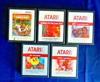Atari 2600 Game Cartridge Lot Of 5 All Silver Label E.T. Raiders Of The Lost Ark