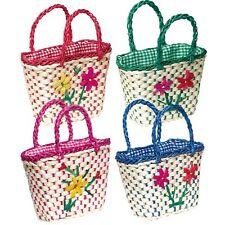 Toy Kids Girl  Medium Shopping Basket Colorful Flowers Woven Basket For Bike