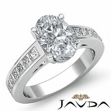 Oval Diamond Stunning Engagement Channel Set Ring GIA F SI1 14k White Gold 1.5ct
