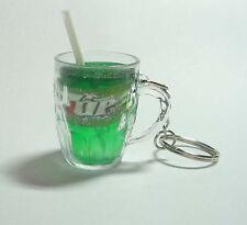 """7UP Glass Mug Handle Limited Edition KEYCHAIN Keyring Novelty Pepsi 7 Up 1.5"""""""