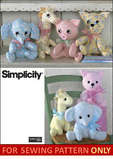 SEWING PATTERN! MAKE BABY SOFT~CLOTH TOYS! STUFFED ELEPHANT~GIRAFFE~PIG~CAT!