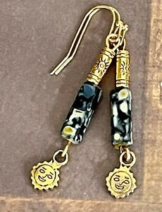 Etched Gold Sunshine and Marbled Black Picasso Bead Earrings. Boho Chic.