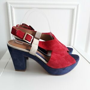 CLARKS Software Suede Red Blue Chunky Heel Sandals Colourful Unusual Sz 8 / 43