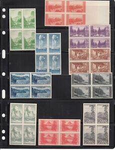 1935 MNH Complete Set - Farley Imperforate National Park Series Blks/4 #745-65