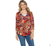 Isaac Mizrahi Live! Canyon Paisley Printed Curved Hem Cardigan Red Multi Size L