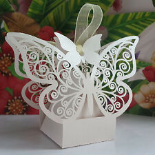 50x Butterfly Wedding Baby Shower Cutout Candy Box Favors Gift Box Pearlescent
