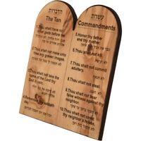 Ten Commandments Olive Wood Engraving from Bethlehem - Hebrew & English - Medium