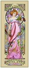 Moet Lady in Pink Gown by Alfons Maria Mucha Counted Cross Stitch Pattern