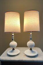 Pair of Vintage White Hobnail Milk Glass Small Boudoir Lamps with Original Shade