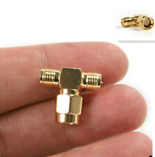 SMA male to two SMA female T Type Connector Adapter Triple 3-way Splitter Copper