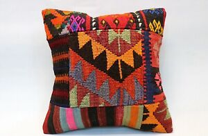 "Patchwork Kilim Pillow, 16""x16"", Accent Pillow, Square Pillow, Decorative Pillow"