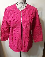 Women's Chico's Size 2 (12 14) Pink Open Front Jacket