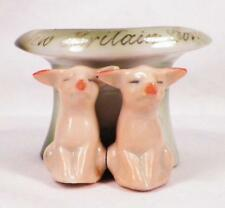 Pink Pigs Figurine Toothpick Holder Souvenir New Britain Conn Piglets Germany