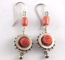 Antique Victorian Carved Salmon Coral Dangle Drop Earrings 14k Yellow Gold
