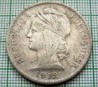 PORTUGAL REPUBLIC 1912 50 CENTAVOS, SILVER