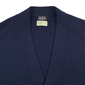 1950's 46 / XL Brooks Brothers Navy Blue Lambs Wool Knit Cardigan Made England