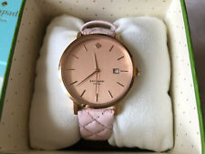 BNWT Kate Spade Metro Grand 1YRU0845 Women's Watch Quilted Pink Leather Strap