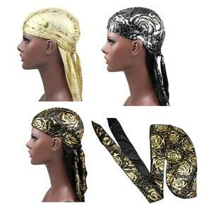 Gold Flower Rose Design Silk Durag Cap Doo rag Scarf Dew rag Wrap Up UK Perfect