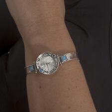 New Women Silver Watch Shablool Israeln Sterling Silver Simulated Opal Blue