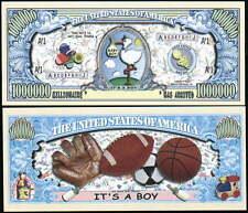 It's a Boy! Million Dollar Baby Bill Fake Funny Money Novelty Note + FREE SLEEVE