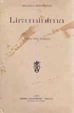 LIRA MINIMA POESIE PER BAMBINI di Jolanda Bencivenni 1899 Remo Sandron Editore