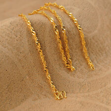 Authentic 999 24K Yellow Gold Necklace Classic Singapore Link Chain 16.5 inch