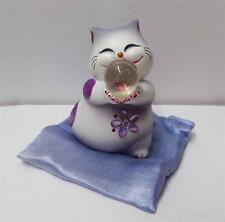 "New 3.75"" Maneki Neko Lucky Cat Cutie Jewel Cat Figure w/ Pillow Purple"