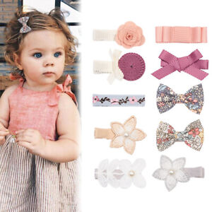 10Colors Baby Children Girls Print Bownot Hairpin Lace Pearl Flower Hair Clips