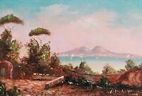 Quadro Dipinto a Olio firmato Paesaggio Golfo Napoli Vesuvio Scuola Posillipo