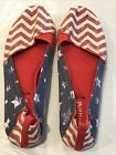 PATRIOTIC Women's 7 RED WHITE BLUE Flat Shoes WOVEN BY MAD LOVE Stripe Stars USA
