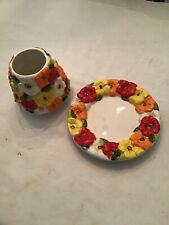 HOMCO Home Interiors Floral CANDLE Shade , PlatE Yellow ,Red,orange Flowers
