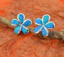 Blue Opal Plumeria Earrings-Sterling Silver-Blue Fire Opal,Hawaiian,Studs,Cute